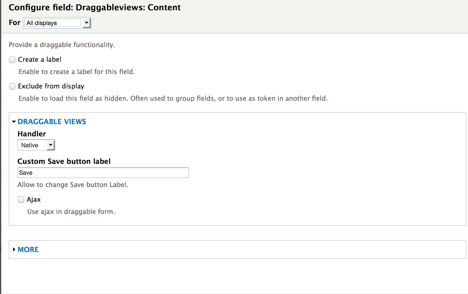 Draggableviews: Content field setting